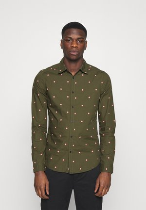 SLIM FIT WITH ALL OVER PRINT - Shirt - dark green/light pink