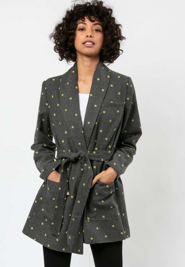 DUSK - Short coat - charcoal/lime