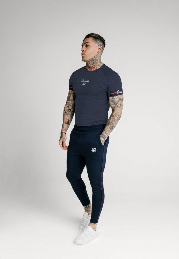 SIKSILK RAGLAN TECH - T-shirt basic - navy/granatowy Odzież Męska PGLP