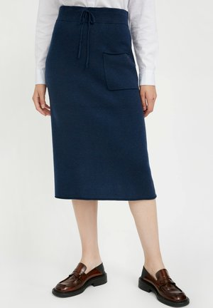 ROCK - Pencil skirt - dark blue melange