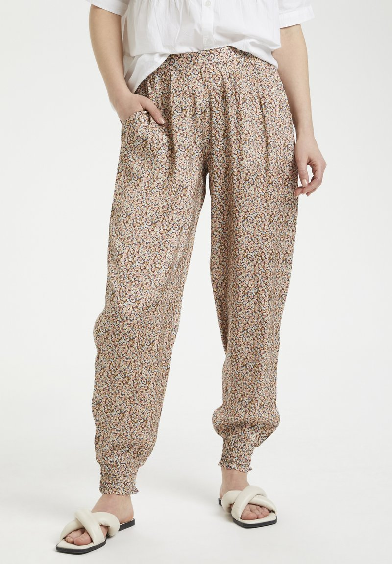 Cream - HAREM - Trousers - small brown flower