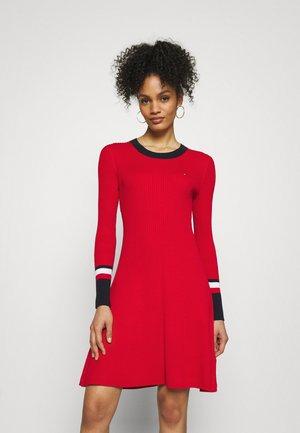 WARM FIT & FLARE DRESS - Pletené šaty - primary red