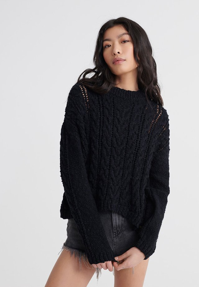 LAYLA OPEN CABLE - Pullover - black
