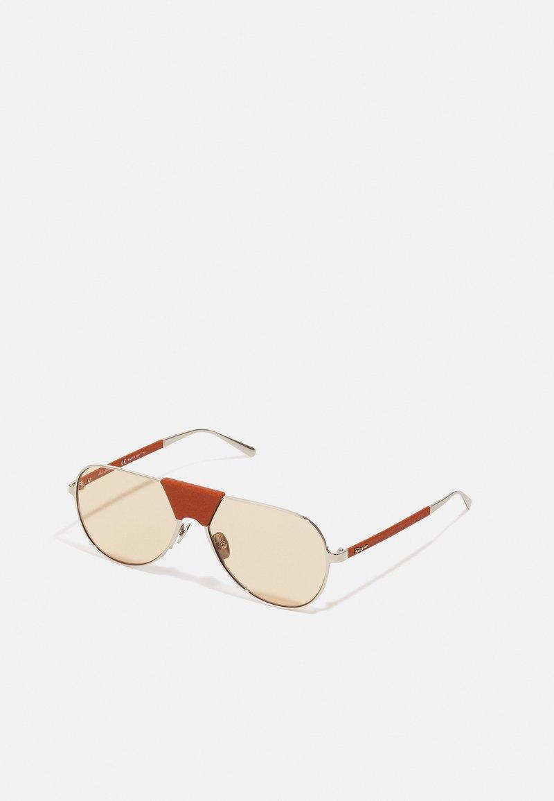 Salvatore Ferragamo - UNISEX - Sunglasses - light gold-coloured/camel leather