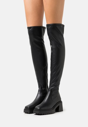 VEGAN SIGRID COMBAT SQUARE TOE SOCK BOOT - Stivali sopra il ginocchio - black smooth
