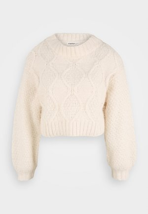 CROP JUMPER WITH LONG SLEEVES AND BOAT NECK - Stickad tröja - off white