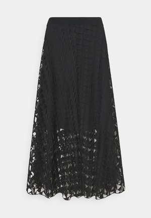 EMBROIDERED SKIRT - Jupe trapèze - black