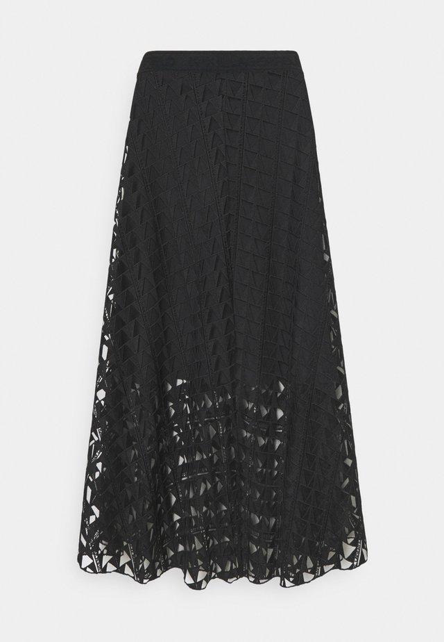 EMBROIDERED SKIRT - A-line skirt - black