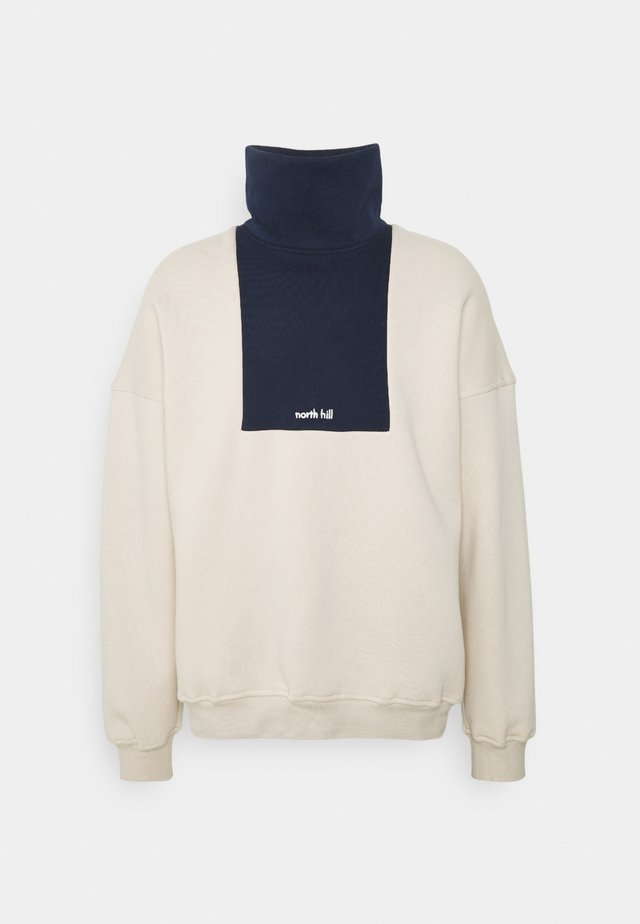 COLORBLOCK LOGO TURTLENECK - Sweatshirt - beige/navy
