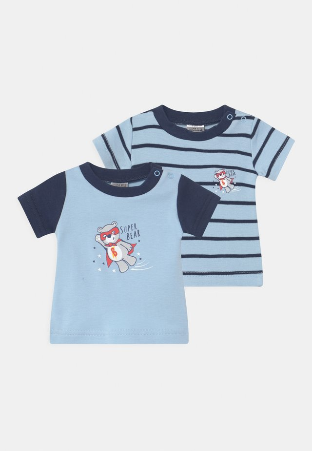 BOYS 2 PACK - T-shirt med print - blue/dark blue