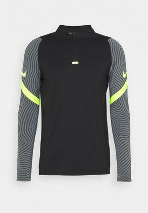 DRY STRIKE DRILL - Sports shirt - black/smoke grey/volt