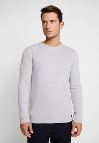 TOM TAILOR DENIM - ZIGZAG STRUCTURED CREWNECK - Pullover - lava stone grey melange - 0