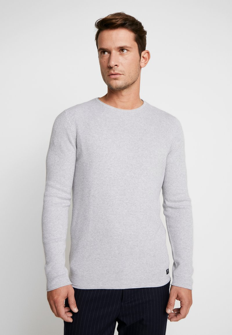 TOM TAILOR DENIM - ZIGZAG STRUCTURED CREWNECK - Pullover - lava stone grey melange