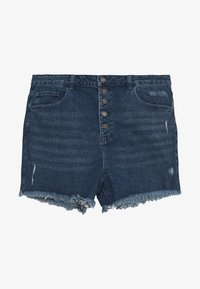 Lost Ink Plus - BUTTON FRONT MOM - Shorts di jeans - light denim - 0