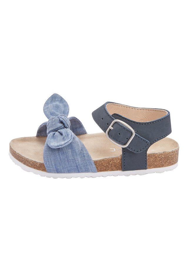 BLUE CORKBED BOW SANDALS (YOUNGER) - Baby shoes - blue