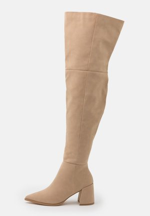 LOW BLOCK HEEL BOOTS - Over-the-knee boots - cream