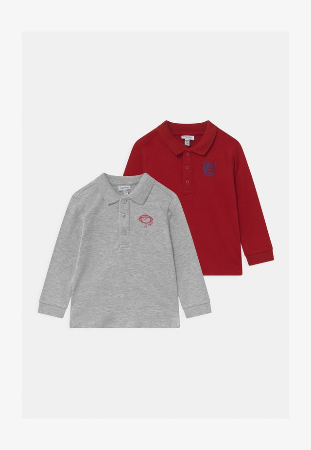 SOLID 2 PACK - Polo shirt - chili oil/grey melange