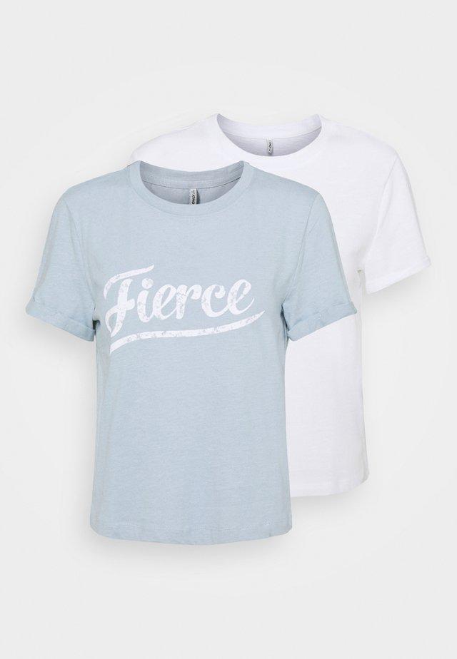 ONLMOLLY LIFE TEXT 2 PACK - T-shirts print - bright white/blue fog