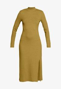 Zign - RIB PERKIN NECK DRESS WITH HIGH  - Denní šaty - oliv - 4