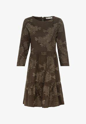 MIT BLUMENSTICKEREI - Day dress - dunkel oliv