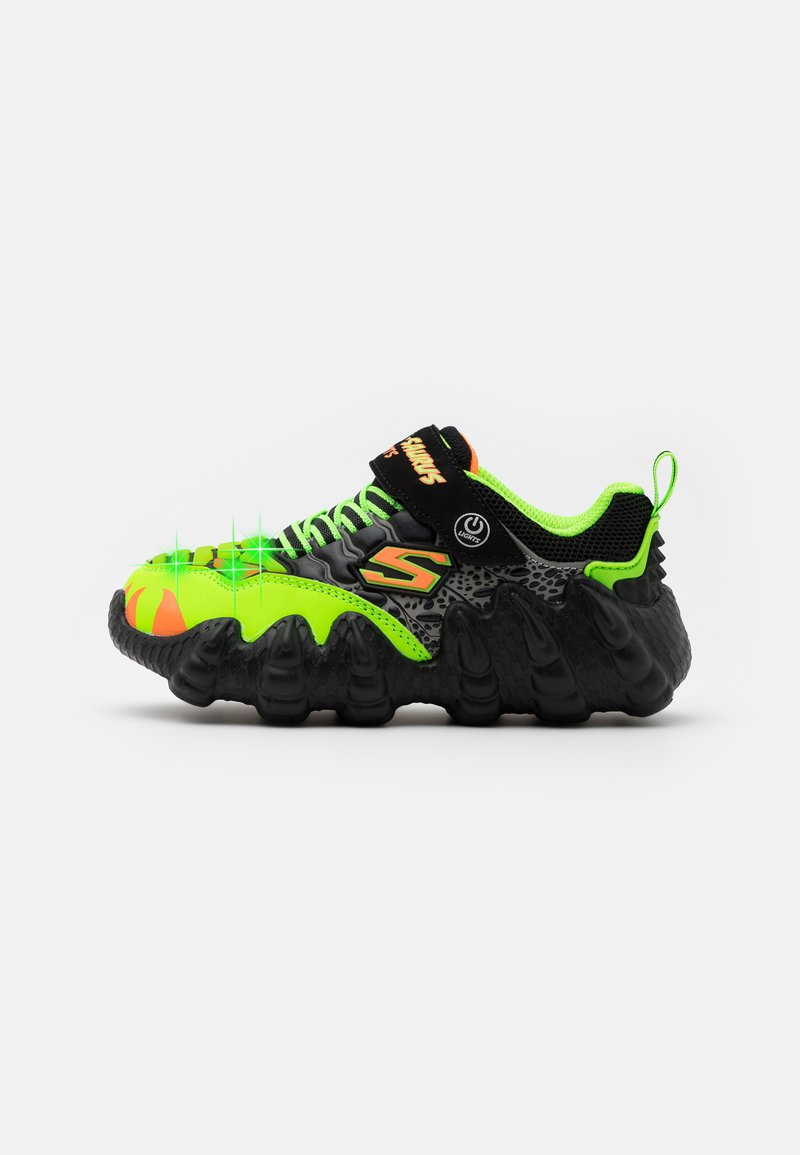 Skechers - SKECH-O-SAURUS LIGHTS - Tenisky - black/lime/orange