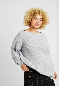 Glamorous Curve - TRIM JUMPER - Strikkegenser - light grey - 2