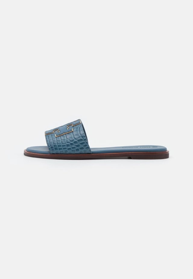 INES SLIDE - Mules - denim blue/gold