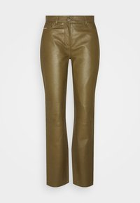 GRETA TROUSERS - Pantalon en cuir - olive