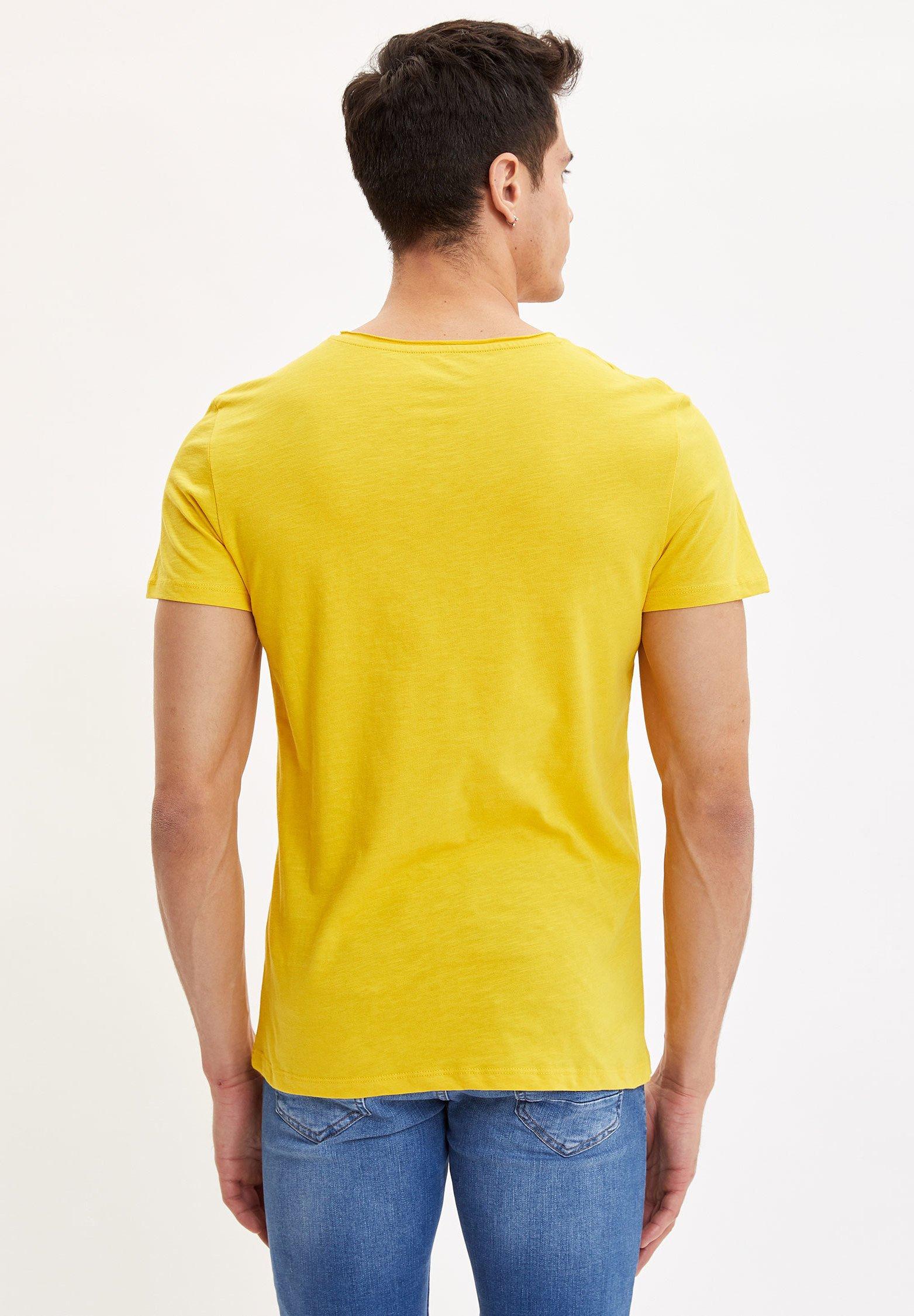 DeFacto Basic T-shirt - yellow UlsXn