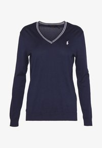 Polo Ralph Lauren Golf - V-NECK-LONG SLEEVE-SWEATER - Top s dlouhým rukávem - french navy/white - 4