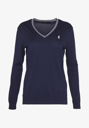 V-NECK-LONG SLEEVE-SWEATER - Bluzka z długim rękawem - french navy/white