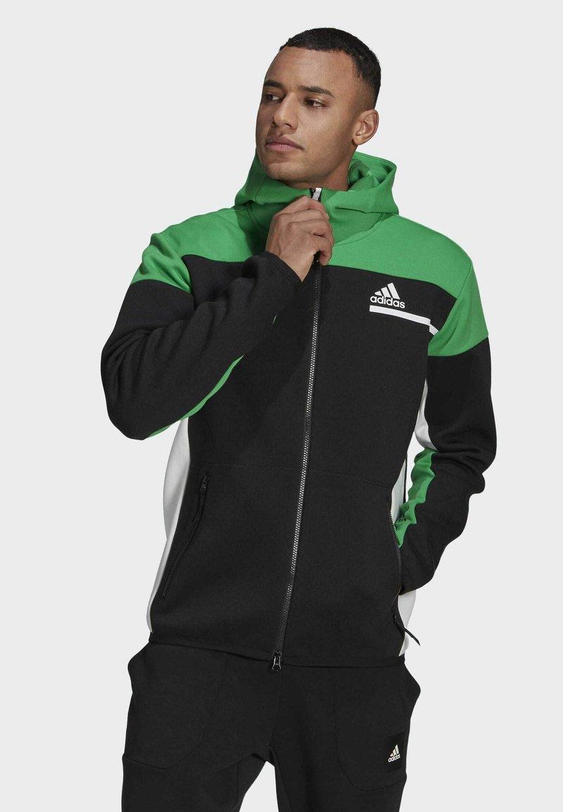 adidas Performance - Z.N.E HOODIE PRIMEGREEN HOODED TRACK TOP - Zip-up hoodie - black
