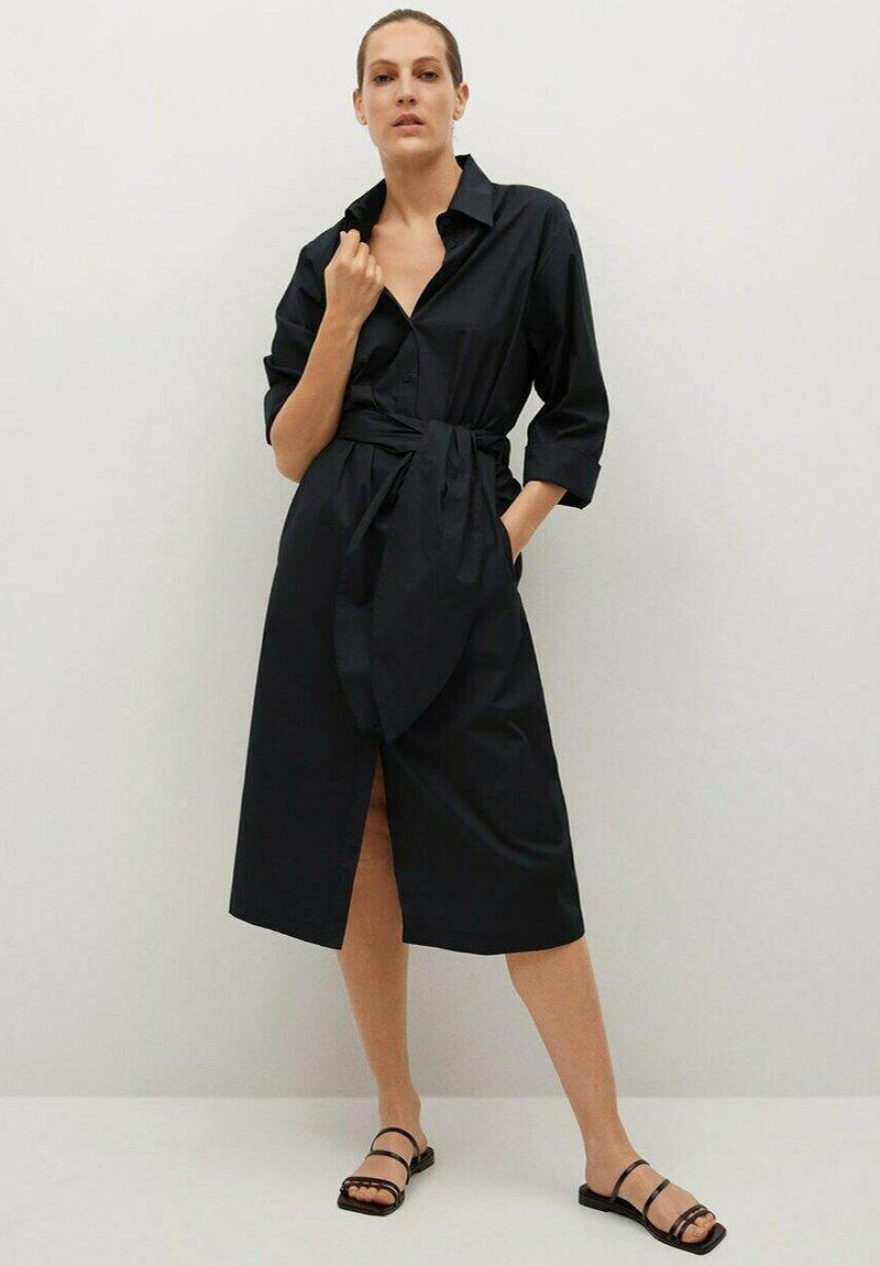 Mango - Vestido camisero - noir