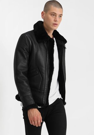 KENNEDI SHEARLING - Leren jas - black
