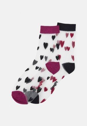 ZARI HEART SOCKS 2 PACK - Socks - black/magento pink