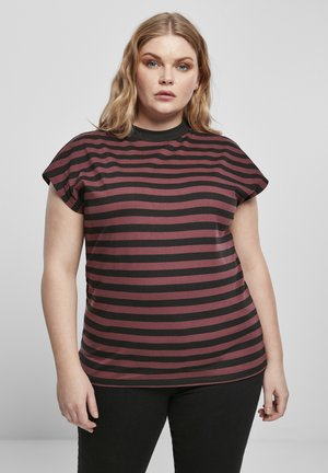 Y/D STRIPE - Basic T-shirt - cherry/blk