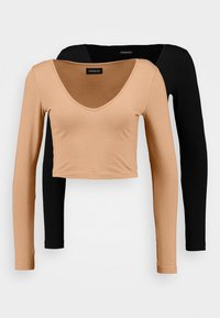 Even&Odd - 2 PACK - Långärmad tröja - camel/black - 1