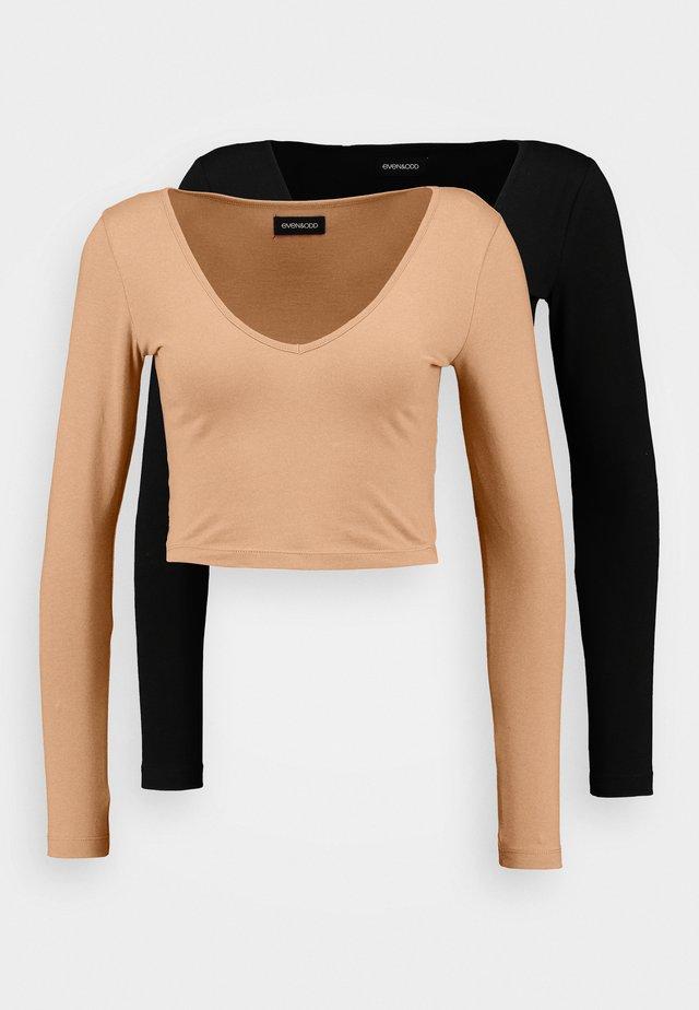 2 PACK - Long sleeved top - camel/black