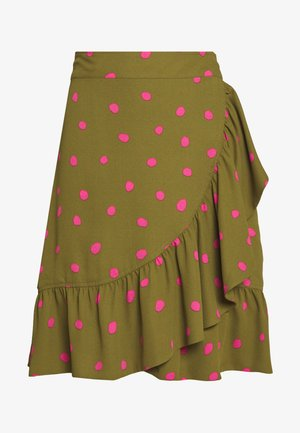 RUFFLE WRAP MINI SKIRT - A-line skirt - army/pink
