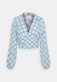 Glamorous - OPEN COLLAR PUFF SLEEVE RUCHED CROP BLOUSE - Bluser - blue - 3