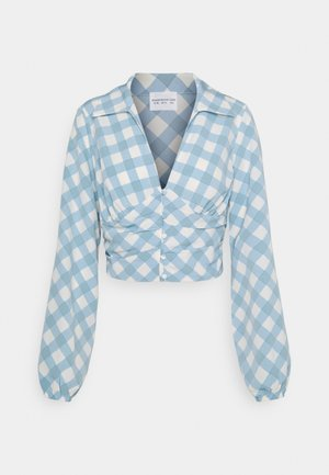 OPEN COLLAR PUFF SLEEVE RUCHED CROP BLOUSE - Blůza - blue