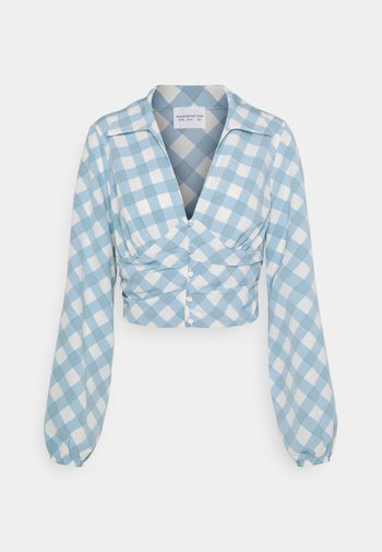 OPEN COLLAR PUFF SLEEVE RUCHED CROP BLOUSE - Bluser - blue