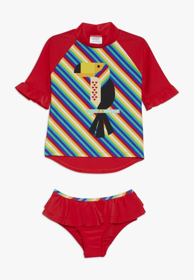 FRILL RASH TOP SET - Swimsuit - red/yellow