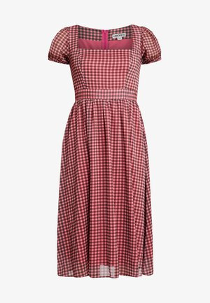 CHECK PUFF SLEEVE DRESS - Day dress - rust