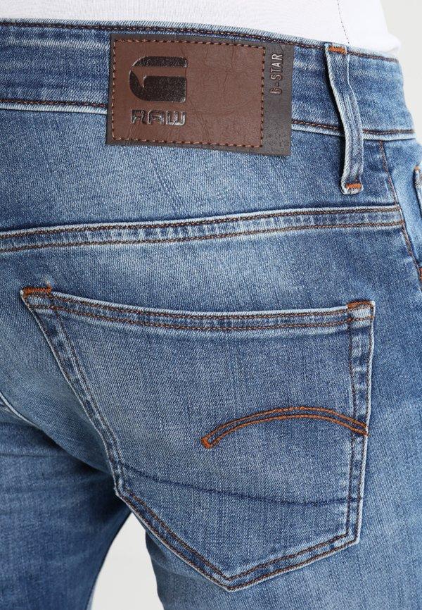 G-Star 3301 DESCONSTRUCTED SUPER SLIM - Jeansy Skinny Fit - medium indigo aged/niebieski denim Odzież Męska HDGH