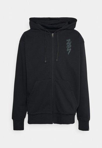 ZION HOODIE - Felpa con zip - black/dark smoke grey