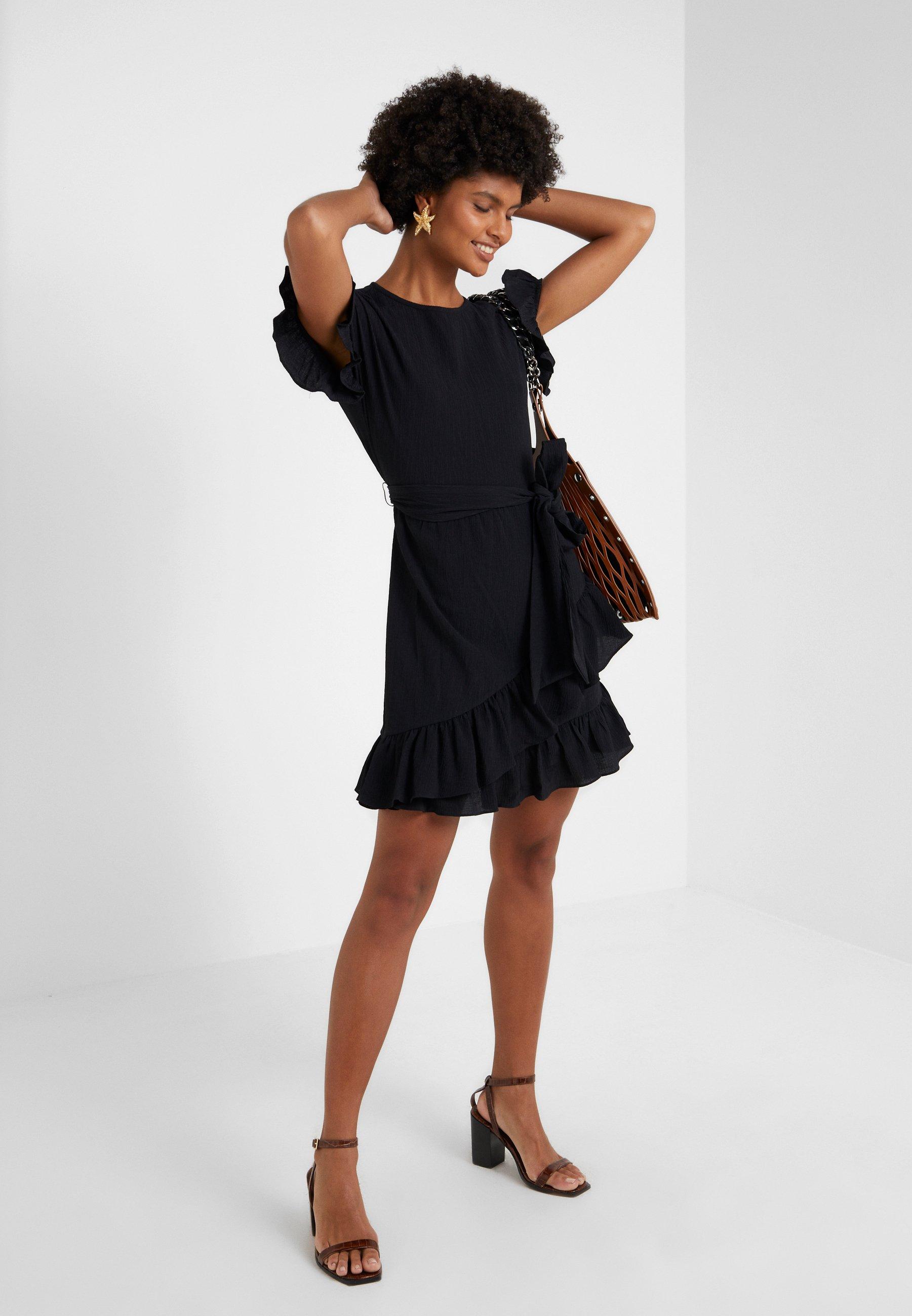 MICHAEL Michael Kors RUFFLE WRAP DRESS - Kjole - black