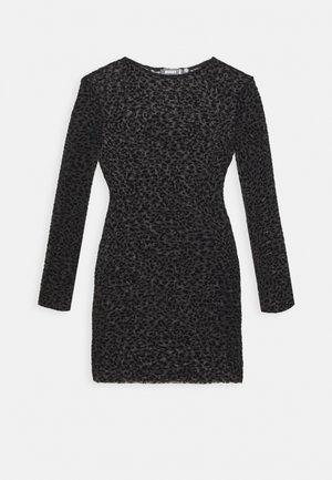 HALLOWEEN FLOCKED BODYCON DRESS - Shift dress - black