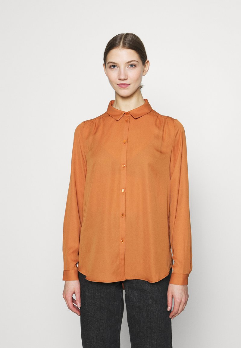 Vila - VILUCY BUTTON - Button-down blouse - adobe