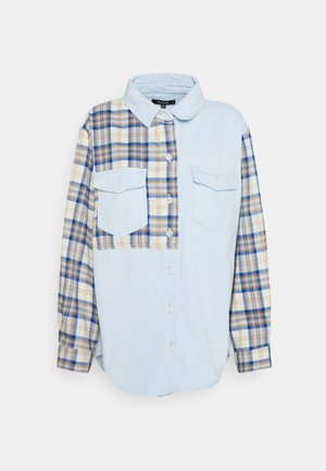 CONTRAST CHECK - Button-down blouse - blue